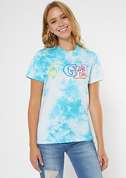 Blue Tie Dye Angel Graphic Tee
