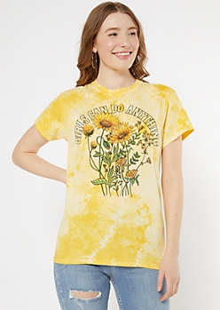 Yellow Tie Dye Girls Can Do Anything Graphic Tee