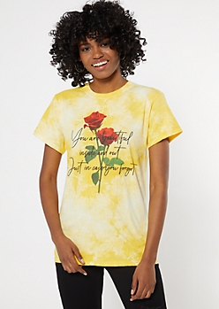 Yellow Tie Dye You Are Beautiful Graphic Tee