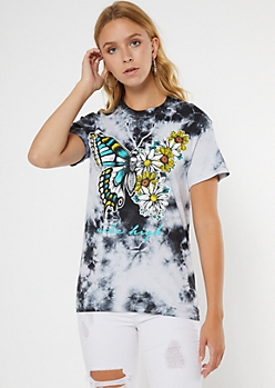 Black Tie Dye Vibe High Butterfly Graphic Tee