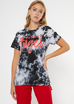 Black Tie Dye Not An Angel Graphic Tee