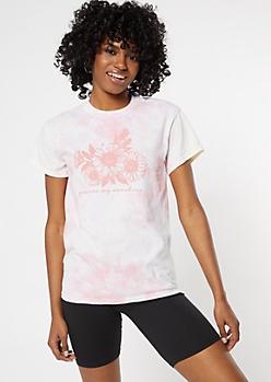 Pink Tie Dye Sunshine Sunflower Graphic Tee