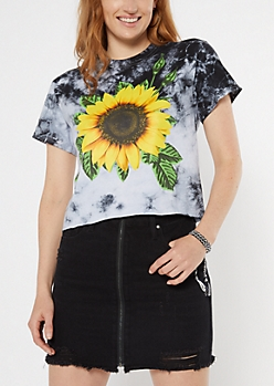 Black Tie Dye Sunflower Print Short Graphic Tee