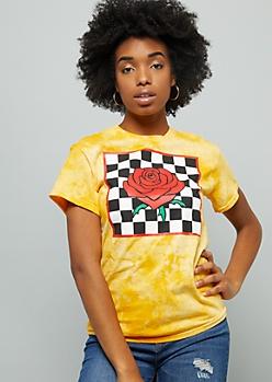 Mustard Tie Dye Checkered Print Rose Graphic Tee