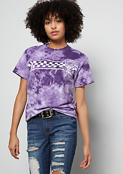 Purple Tie Dye Checkered Print Rose Graphic Tee