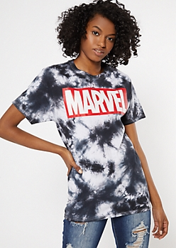 Black Tie Dye Marvel Graphic Tee