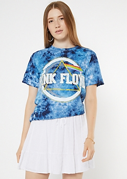 Blue Tie Dye Pink Floyd Tour Graphic Tee