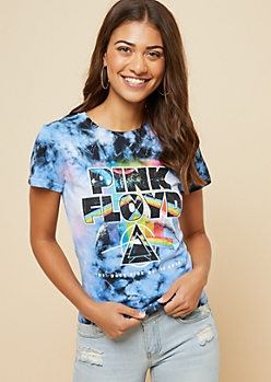 Blue Tie Dye Rainbow Pink Floyd Fitted Tee