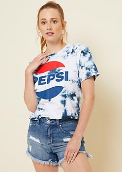 Navy Washed Tie Dye Pepsi Skimmer Tee