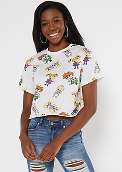 White Rugrats Cropped Boxy Graphic Tee