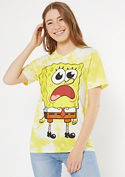 Yellow Tie Dye SpongeBob Graphic Tee