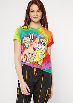 Rainbow Tie Dye SpongeBob Group Graphic Tee
