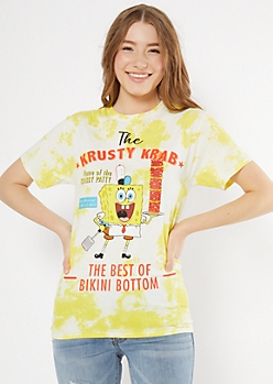 Yellow Tie Dye Krusty Krab SpongeBob Graphic Tee