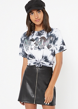 Black Tie Dye Metallic AC DC Graphic Tee