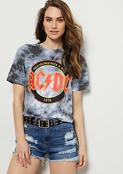 Gray Tie Dye AC DC Band Graphic Tee