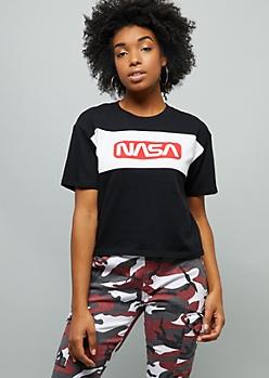 Black NASA Colorblock Skimmer Graphic Tee