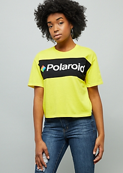 Yellow Colorblock Polaroid Skimmer Graphic Tee