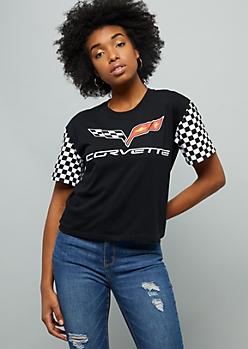 Black Checkered Print Corvette Graphic Tee