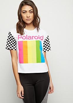 White Rainbow Polaroid Checkered Print Sleeve Graphic Tee