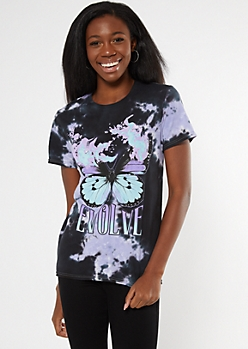 Purple Tie Dye Evolve Butterfly Graphic Tee