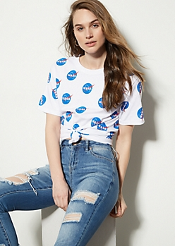 White NASA Logo Graphic Tee