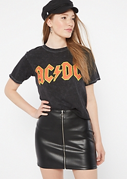 Black Tie Dye ACDC Raw Cut Graphic Tee
