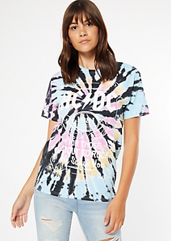 Rainbow Washed Tie Dye AC DC Graphic Tee