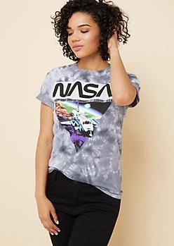 Black Tie Dye NASA Ship Tee