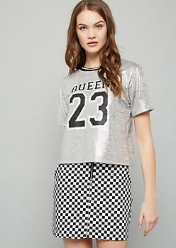 Silver Metallic Queen Graphic Jersey Tee