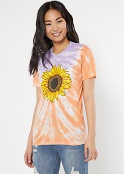 Orange Tie Dye Sunflower Graphic Tee