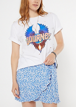 White Journey Glitter Graphic Tee