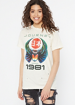 Tan Distressed Journey Kanji Graphic Tee