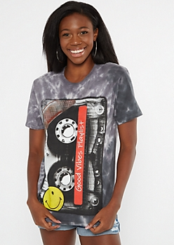 Black Tie Dye Good Vibes Playlist Graphic Tee