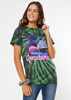 Green Tie Dye Goosebumps Graphic Tee