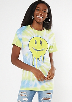 Blue Tie Dye Drippy Smiley Graphic Tee