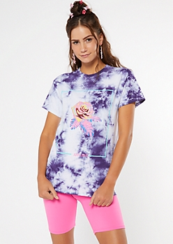 Purple Tie Dye Just Love Rose Graphic Tee