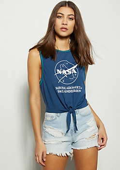 Navy Contrast NASA Tie Front Graphic Tank Top