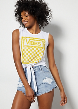 Yellow Checkered Print Vibes Graphic Tank Top