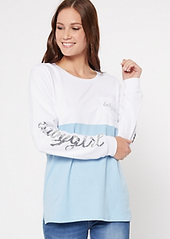 Blue Colorblock Sequin Baby Girl Top