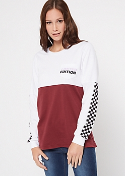 Burgundy Colorblock Limited Edition Graphic Top