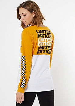 Mustard Colorblock Limited Edition Graphic Top