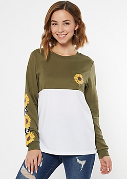 Olive Colorblock Checkered Print Graphic Tee