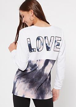 White Tie Dye Colorblock Love Graphic Top