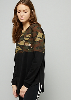 Camo Print Blessed Colorblock Oversized Tee