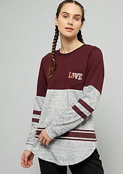 Burgundy Sequin Love Colorblock Striped Long Sleeve Tee