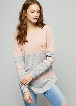 Pink Foiled Queen Striped Long Sleeve Tee