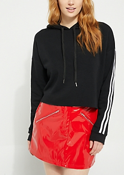 Black Sleeve Stripe Cropped Hoodie