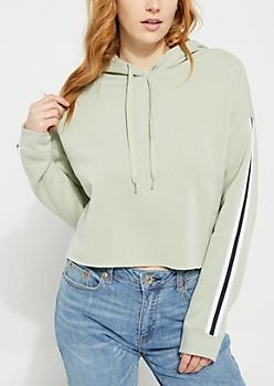 Light Green Sleeve Stripe Cropped Hoodie