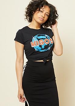 Black Migos Disco Ball Cap Sleeve Graphic Tee
