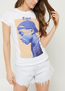 White Tupac Profile Cap Sleeve Tee